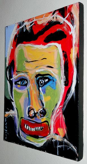 Original Hughart Outsider Primitive Folk Abstract Brut Art Painting